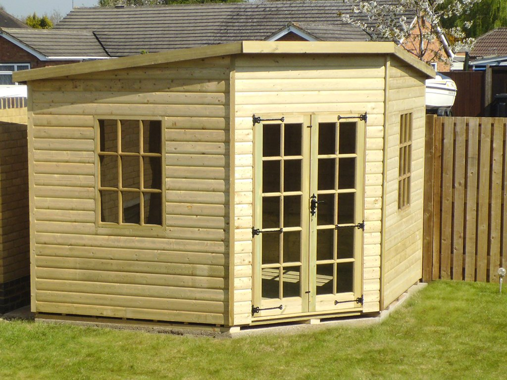 Corner shed photo gallery surrey shed manufacturer based for Garden shed 10x10