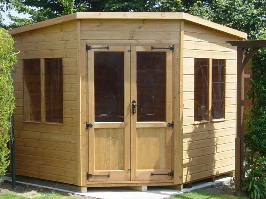 simple corner garden sheds summer house shed log cabin modern - Garden Sheds 7x7