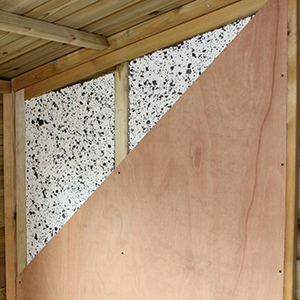 Plywood shed walls