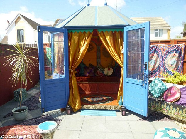 This shed has brought a splash of Arabian colour to an English back garden
