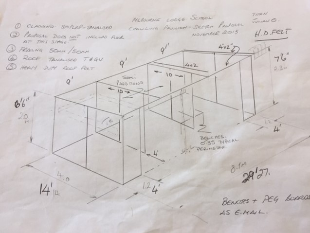 Changing Pavilion shed on site sketch